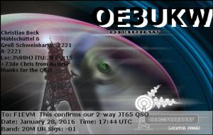 EQSL OE3UKW 20160128 174400 20M JT65